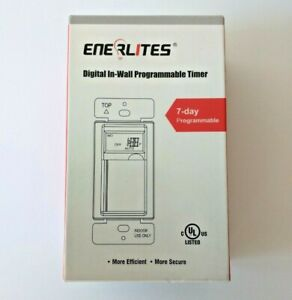 Enerlites HET01-W Programmable Digital Timer In-Wall Switch - White - 120 VAC
