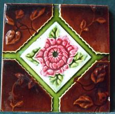 "Original 6"" x 6""  Antique Relief Moulded Majolica Floral Tile"
