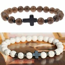 Unisex Natural Stone Wood Beaded Bracelet Cross Meditation Prayer Yoga Bangle
