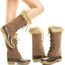 WOMEN FAUX FUR COLLAR LACE UP FLAT SNOW RAIN DUCK WELLIES MID CALF TALL BOOT SZ9