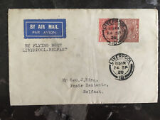 1928 England Flying Boat Calcutta Cover Experimental airmail Liverpool Belfast