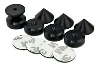 BLACK - 4 x Speaker Spikes + 4 x Spikes Pads Chamfered + 3M adhesive pads