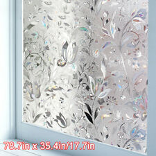 3D Rainbow Frosted Window Film Privacyy Glass Sticker Anti-UV Static Flower Home
