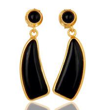 22K Gold Plated Silver Black Onyx Gemstone Fashion Earrings Jewelry