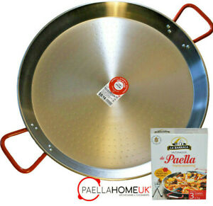 PAELLA PAN 36cm - 42cm PROFESSIONAL POLISHED STEEL + AUTHENTIC SPANISH GIFT