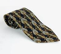 Men's Valentino Giovanni Neck Tie 100% Silk Blue Brown Geometric