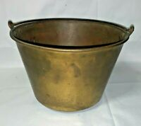 VINTAGE THE AMERICAN MANUFACTURERS #4 BRASS POT KETTLE WITH IRON HANDLE