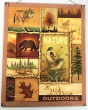 Nature Outdoors wolf moose bear birds cabin log home lodge decor wooden sign