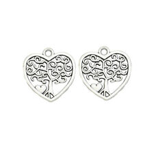 10PCS Silver Tree of Life Heart Charm for Jewelry Making Bracelet Accessories