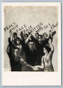 1960 PEACE PROPAGANDA People for world Linocut Rare Soviet USSR Postcard