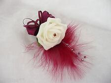 Buttonhole Corsage Wedding Flower Ivory & Burgundy  PIN ON