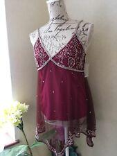 Camisole Indian Top Red Sheer Mesh Ruffle Blouse Shining Size 12