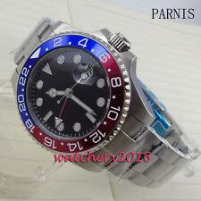 40mm parnis black dial Sapphire Glass luminous GMT Automatic Movement mens Watch