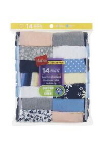 Hanes Girls Size 4 Assorted Cotton Brief Underwear 14 Pack Panties New