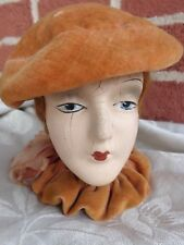 Vtg French Paper Mache Bouidoir Red Hair Doll Lady Head Bust 1920s Flapper as is