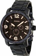 Fossil Masculino Nate JR1356 Preto De Aço Inoxidável Relógio De Quartzo Analógico Da Moda