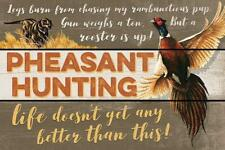 "Pheasant Hunting 12"" x 18"" Saw-Cut Wood Sign by John S Wilson"