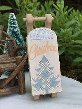 Miniature FAIRY GARDEN Ornament ~ Mini Paper/MDF Merry CHRISTMAS Tree Sled ~ NEW