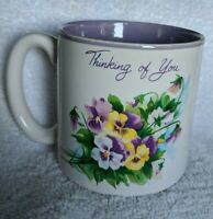 Thinking of You Coffee Mug from Red Farm Studio 1989 white and purple