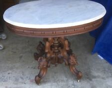 THOMAS BROOKS WANUT MARBLE TOP TABLE