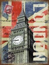 London Post Card Big Ben City Union Jack Flag Stamp, Small Metal Tin Sign