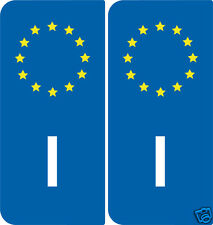 2 Stickers style immatriculation Europe Italie