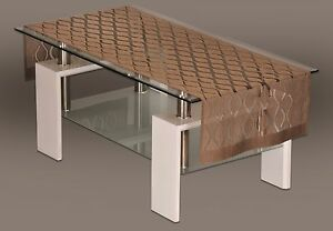 """Rectangular brown, lace tablecloth / table runner NEW 50 x 160 cm (20"""" x 63"""")"""