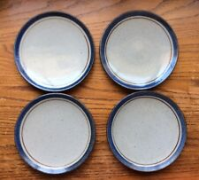 "Lot 4 Vtg Stoneware Mariner Pattern Blue/Brown 7.5"" Dia Plates/Dishes JAPAN #1"