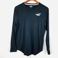 Mens Hollister Small Black white logo long sleeved crew neck casual top t shirt