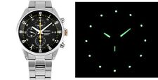 New Seiko watch Chronograph Quartz 41mm Hardlex Crystal w/ box & warranty card