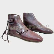 Medieval Leather Shoes Costume Boots for Men Leather Ankle Shoes UK -10