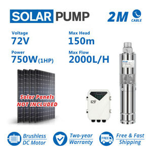 "3"" DC Screw Solar Water Pump 72V 750W Submersible Well Garden Irrigation Kit 1HP"