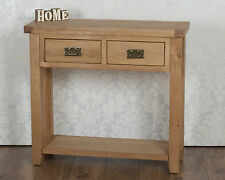 Chunky Solid Oak 2 Drawer Corner Harrogate Natural Console Hall Lamp Side Table