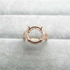 Round cut 12.0mm 14K Solid Rose Gold 0.45ct Natural Diamond Ring
