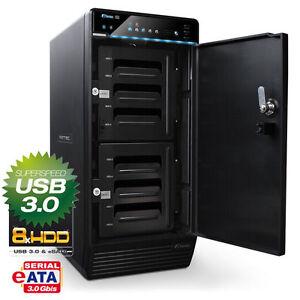32000GB (8x 4000GB) externe Festplatte - Fantec QB-X8US3-6G USB 3.0 eSATA Lüfter