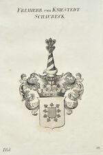 1833 Wappenstich Freiherr von Kniestedt-Schaubeck Kupfer Königreich Württemberg
