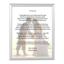 Personalised Gift for the Groom - Son Keepsake poem  A5