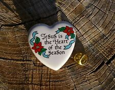 Jesus is the Heart of the Season 1994 Christmas Holiday Pin Pinback Heart