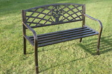 Metal Garden Bench with Cast Iron Floral Pattern Insert-NOW REDUCED