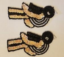 """Pair of Vintage Black Birds Beaded Sequined Appliques Sew On Crafts 4"""""""