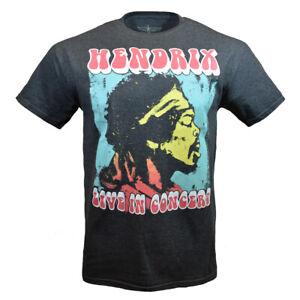 JIMI HENDRIX Men's T-shirt LIVE IN CONCERT Music Tee Vintage Heather Grey NEW