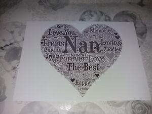 Personalised Word Art Nan Nana Nanny Grandma Heart Picture Print Frame Gift