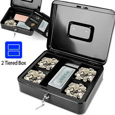 Portable 12 Steel Cash Box With Money Tray Lock 5 Compartment Key Tiered Safety