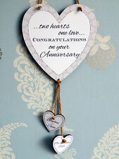 Two Hearts One Love Personalised Anniversary Heart Plaque - Couple Gift Sign