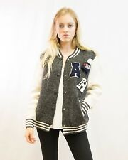 Soft wool blend bomber jacket cardigan with letter patch design color block
