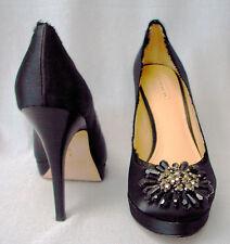 COACH Platform Satin Beaded Stiletto Heels-BERGEN-7 Medium-Black-NWOB-$188