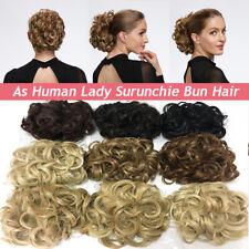 "9""100G LARGE THICK Curly Chignon Messy Bun Updo Clip in Hair Extensions AS REAL"