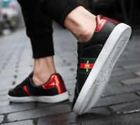 Men's Casual Shoes Men Skate Sneakers Leather Black Luxury Embroidery Shoes