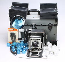GRAFLEX CROWN GRAPHIC 4X5 KIT OPTAR 162MM - FLASH, HOLDERS, BULBS, CASE +MORE!