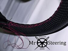 FOR 98+ VW NEW BEETLE PERFORATED LEATHER STEERING WHEEL COVER HOT PINK DOUBLE ST